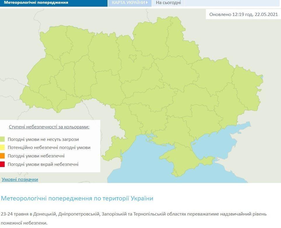 Метеорологічні попередження по території України