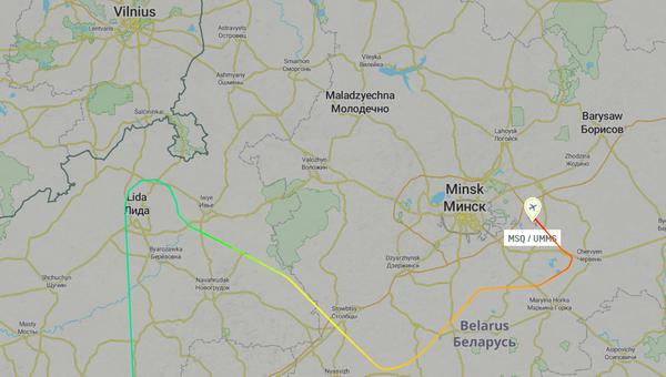 Самолет был ближе к Вильнюсу, чем к Минску.