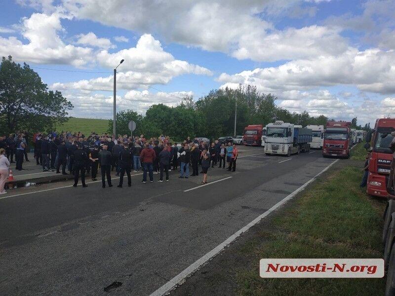 Блокирование движения на трассе под Николаевом.