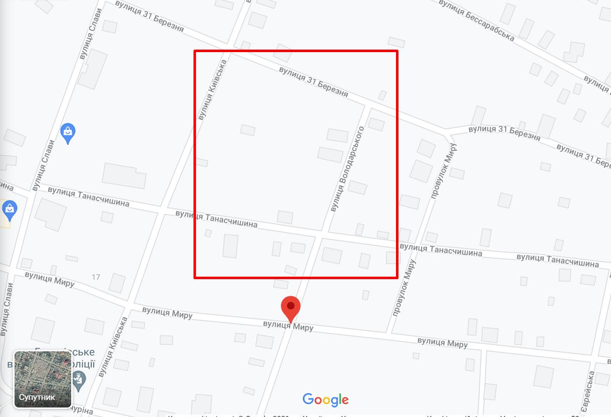 Карта места ДТП в Березовке