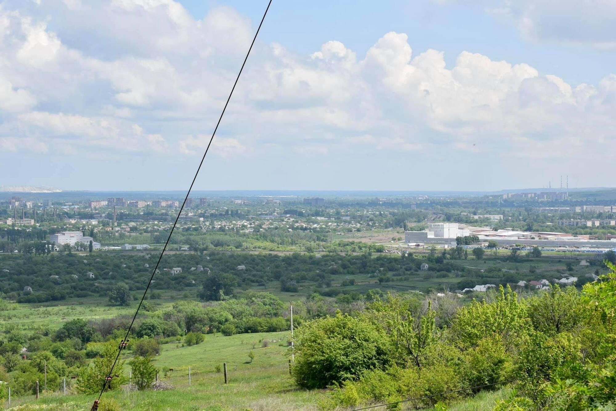 Вид на город Славянск с горы Карачун