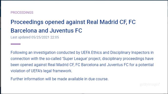 Сообщение на сайте УЕФА