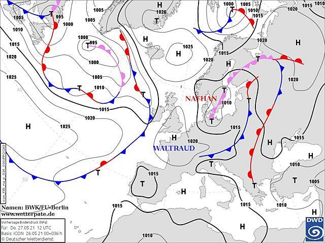 27 мая Украину заденет атмосферный фронт циклона Nathan