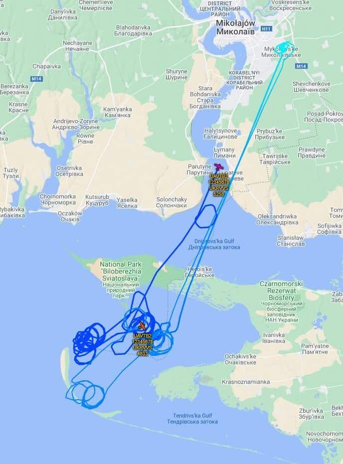 Маршруты полета Bayraktar TB2 на Тендровской косе 26 марта 2021 года
