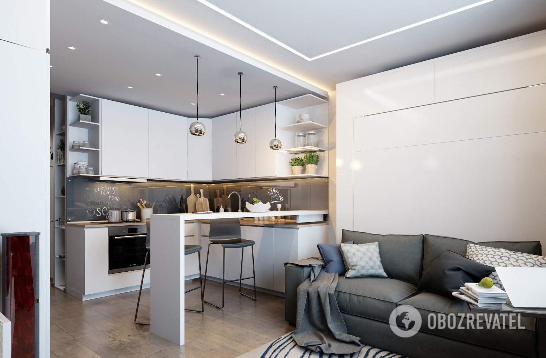 Современные интерьеры объединяют кухню и гостиную .