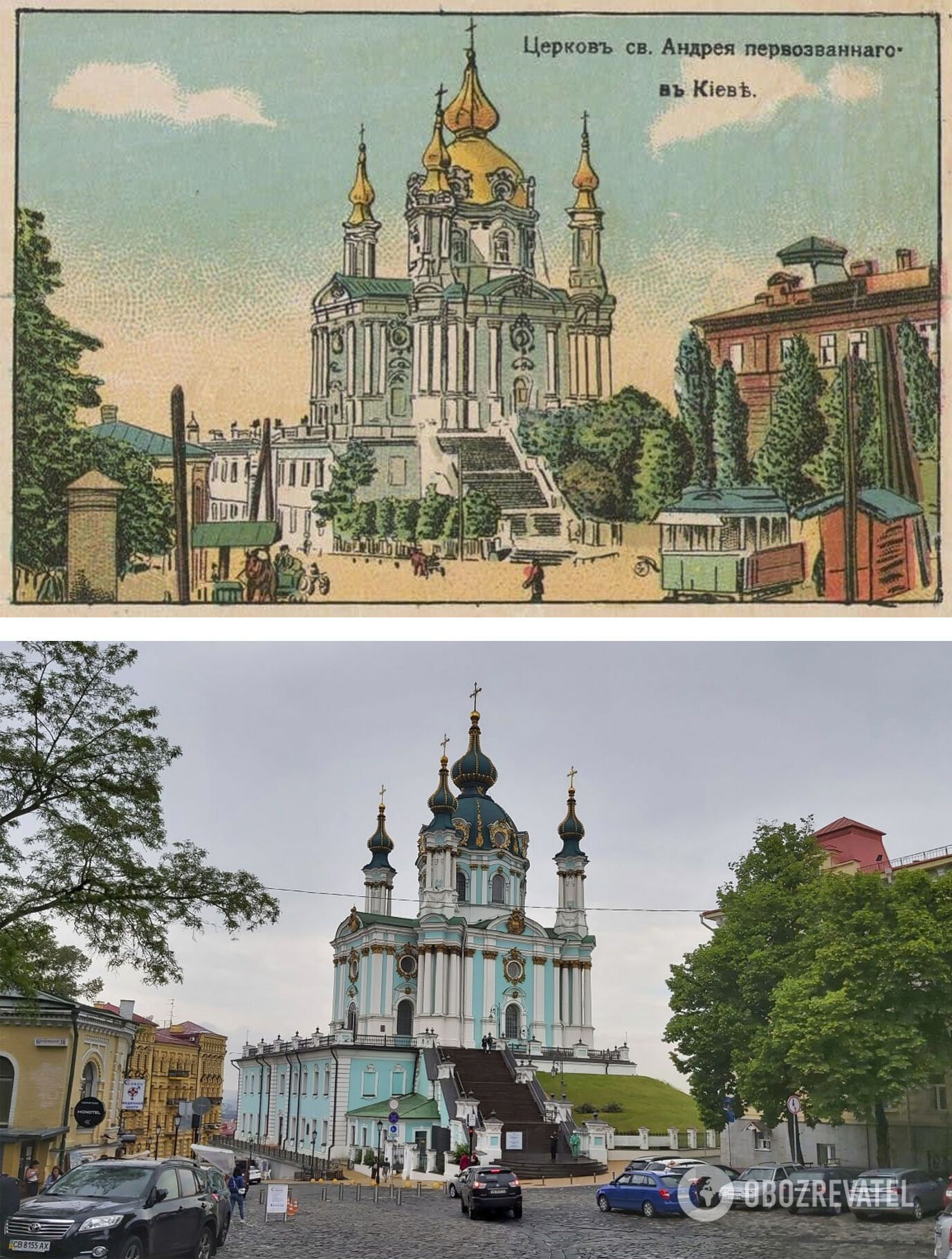 Андреевскую церковь сохранили, а спуск реконструировали.