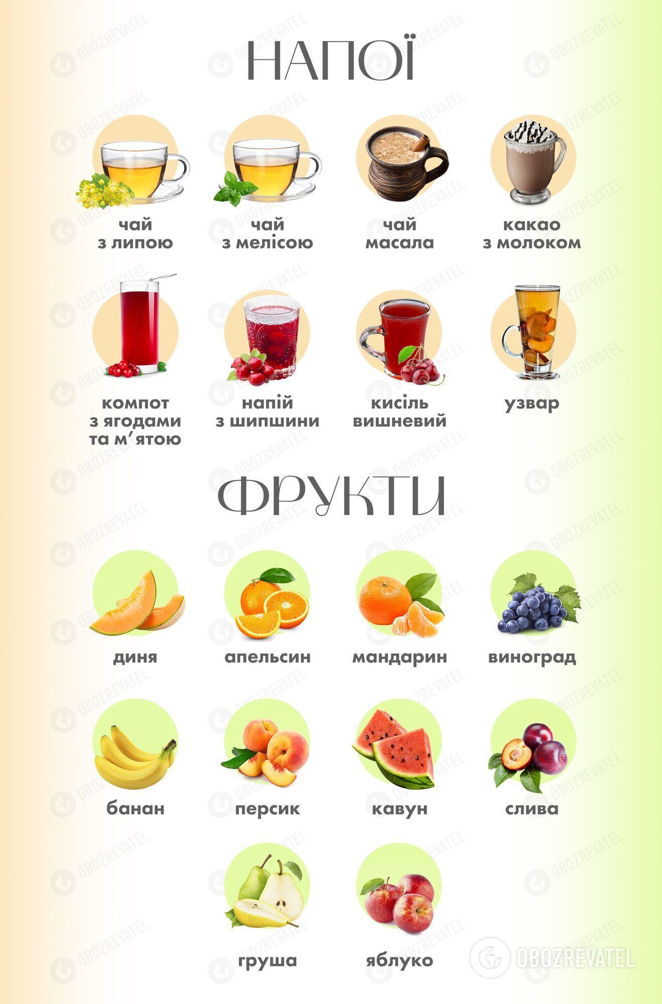 Набор фруктов и напитков в новом меню стал разнообразнее
