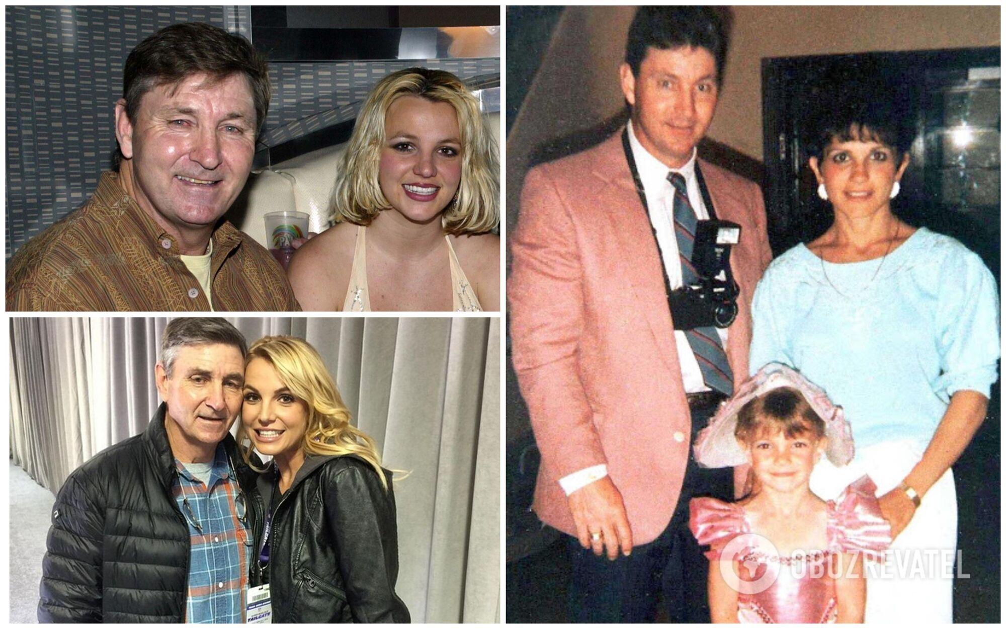 Брітні Спірс у різні роки зі своїм батьком, який став її особистим менеджером, а потім і опікуном