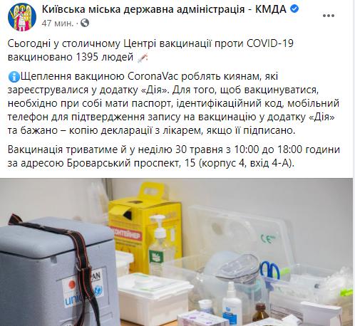 Результаты работы .Киевского центра вакцинации за 29 мая.