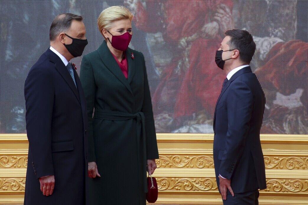 Президент Польщі з дружиною і Зеленський
