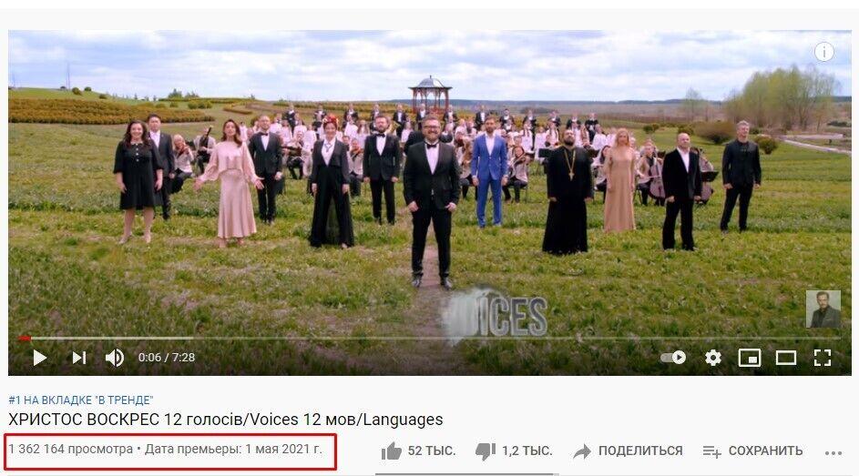 """""""Христос воскрес"""" всего за сутки набрал более 1 млн просмотров в YouTube"""