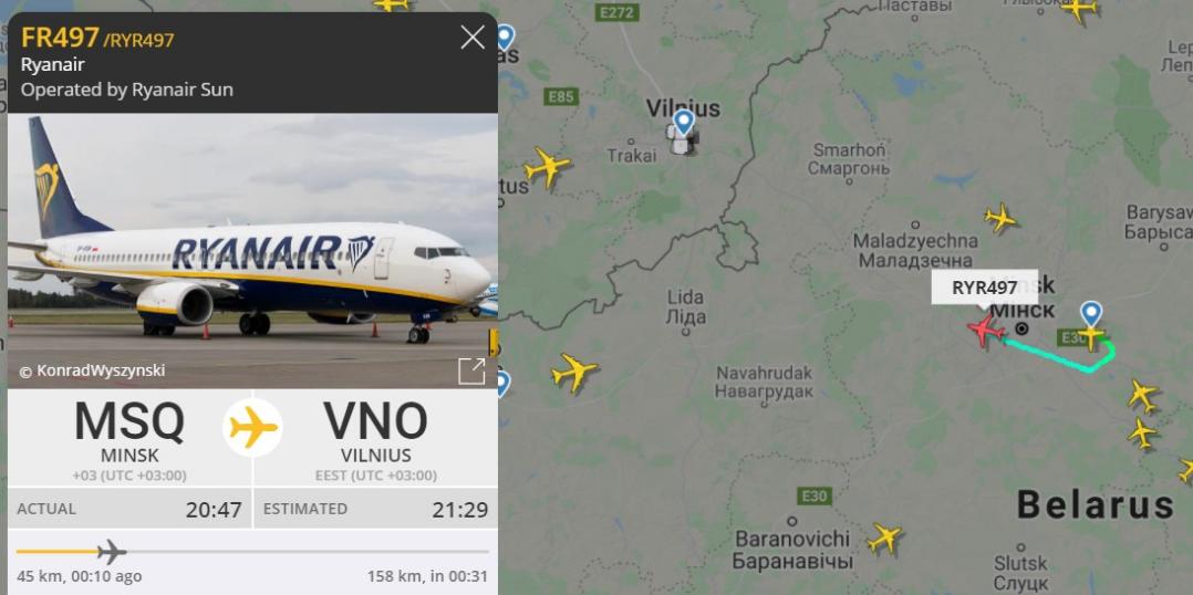 Протасевича сняли с борта Ryanair, летевшего в Вильнюс