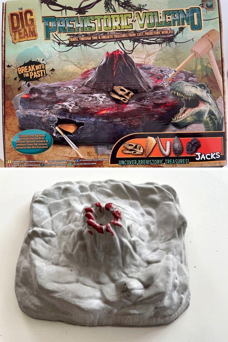 Игрушка-вулкан на картинке и в реальности.