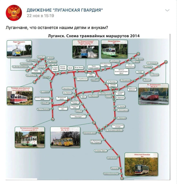 Схема трамвайних маршрутів у Луганську в 2014 році