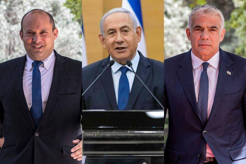 Слева направо: Нафтали Беннет, Биньямин Нетаньяху и Яир Лапид