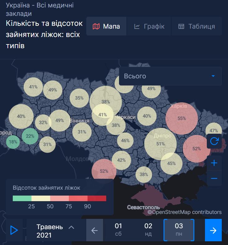 Мапа заповненості ліжко-місць для хворих на коронавірус в Україні