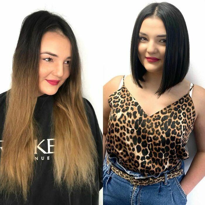 Темный цвет и короткая стрижка намного лучше пережженных волос.