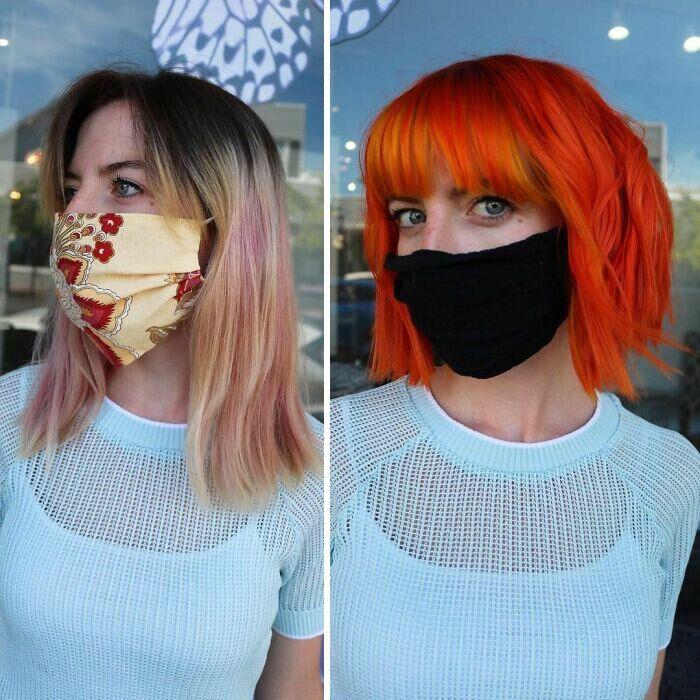 Парикмахер несколько часов красил девушку в оранжевый.