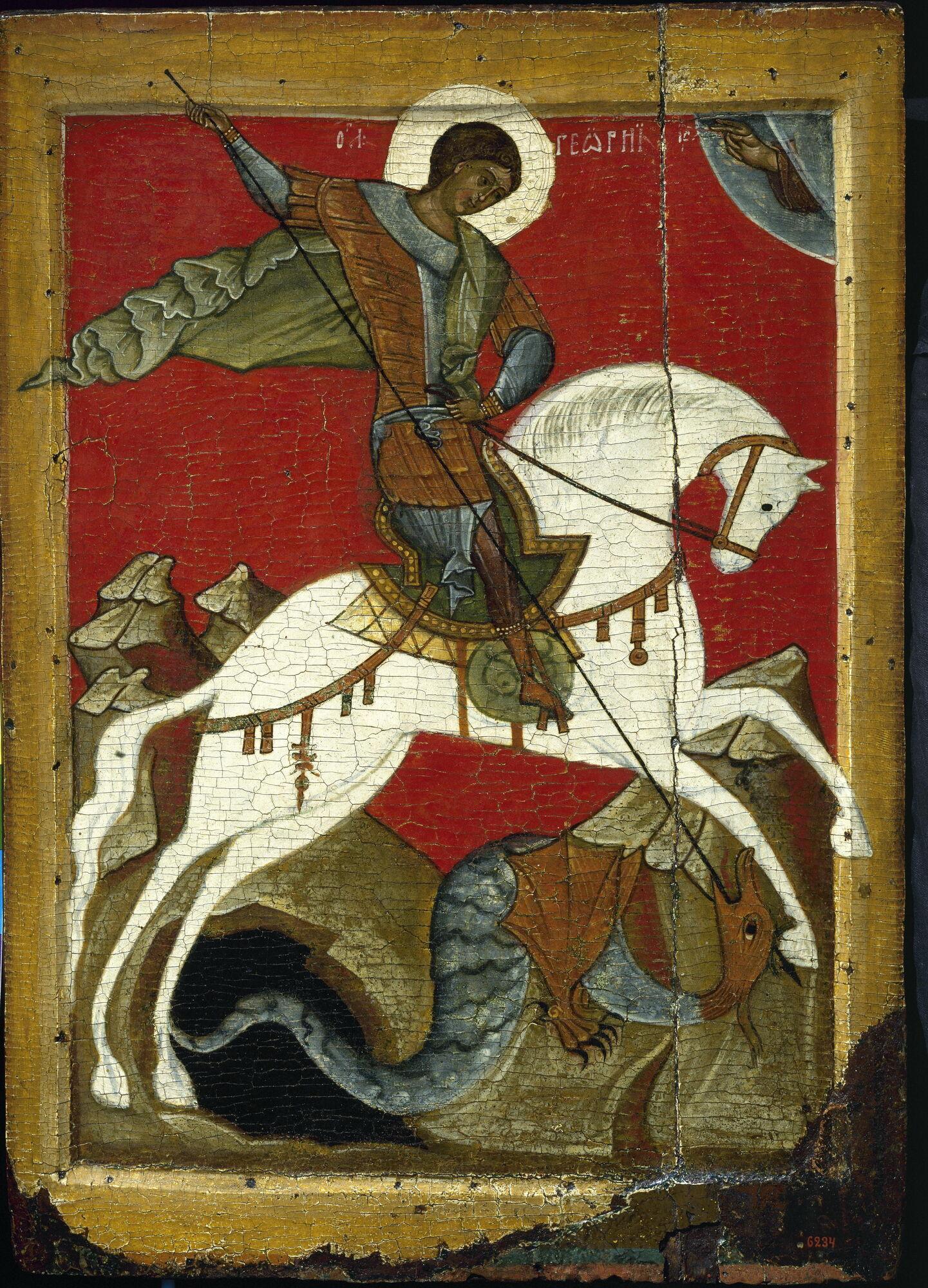 Георгий Победоносец жил в 3 столетии. Новгородская икона, конец 14 века