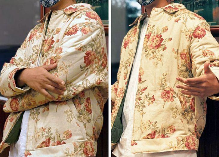 Чоловік пошив куртку з гардин і ковдри