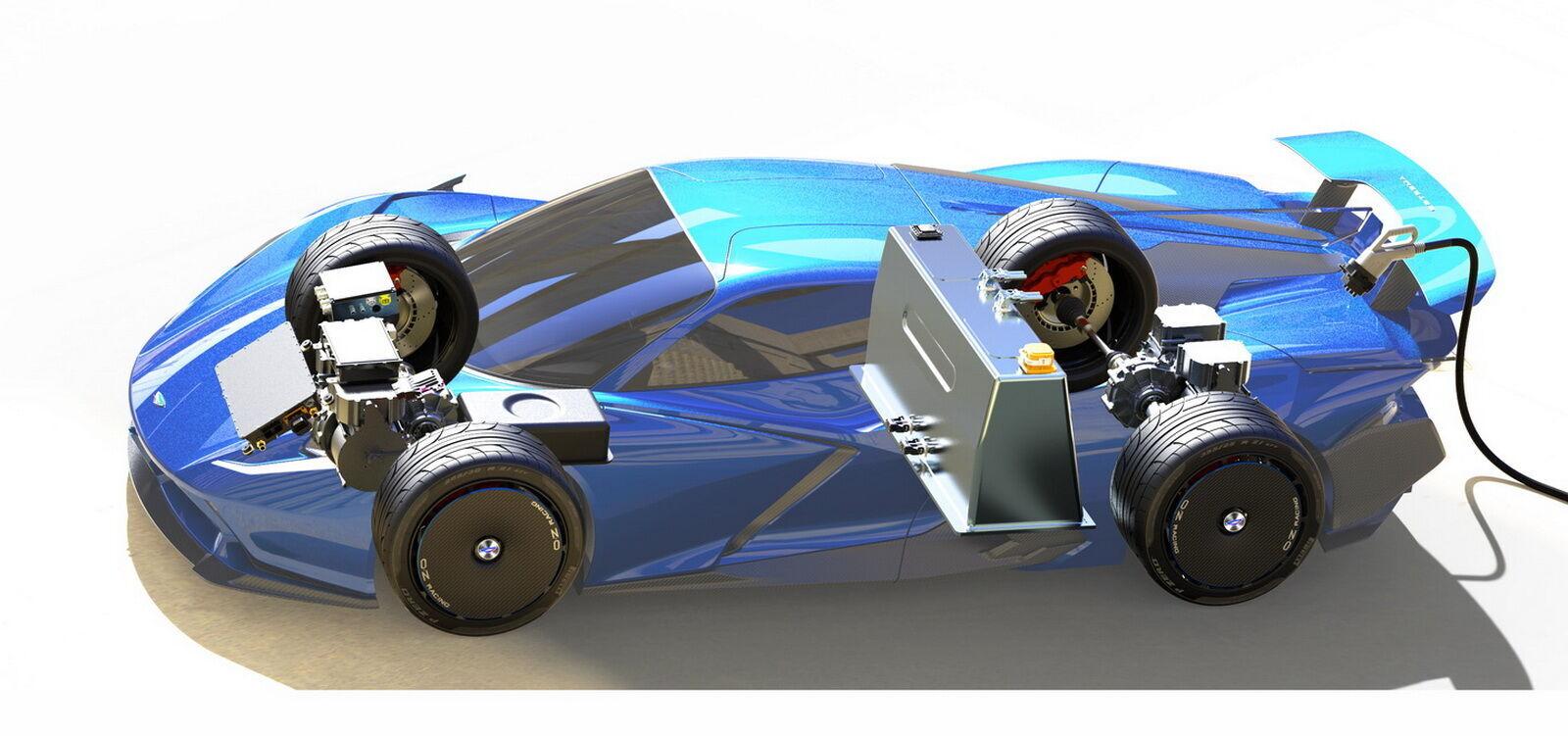 Суперконденсаторы находятся по соседству с передней осью, а батарея установлена за спинками кресел водителя и пассажира