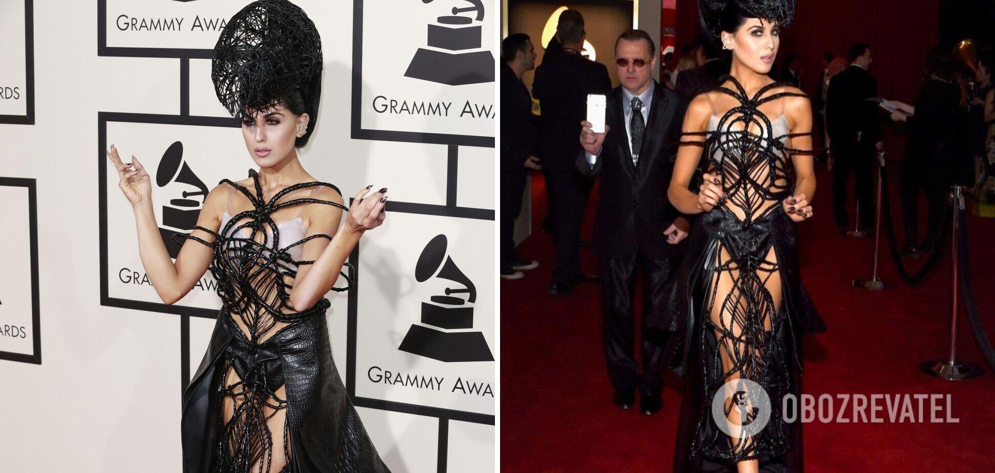 Певица надела платье в виде паука.