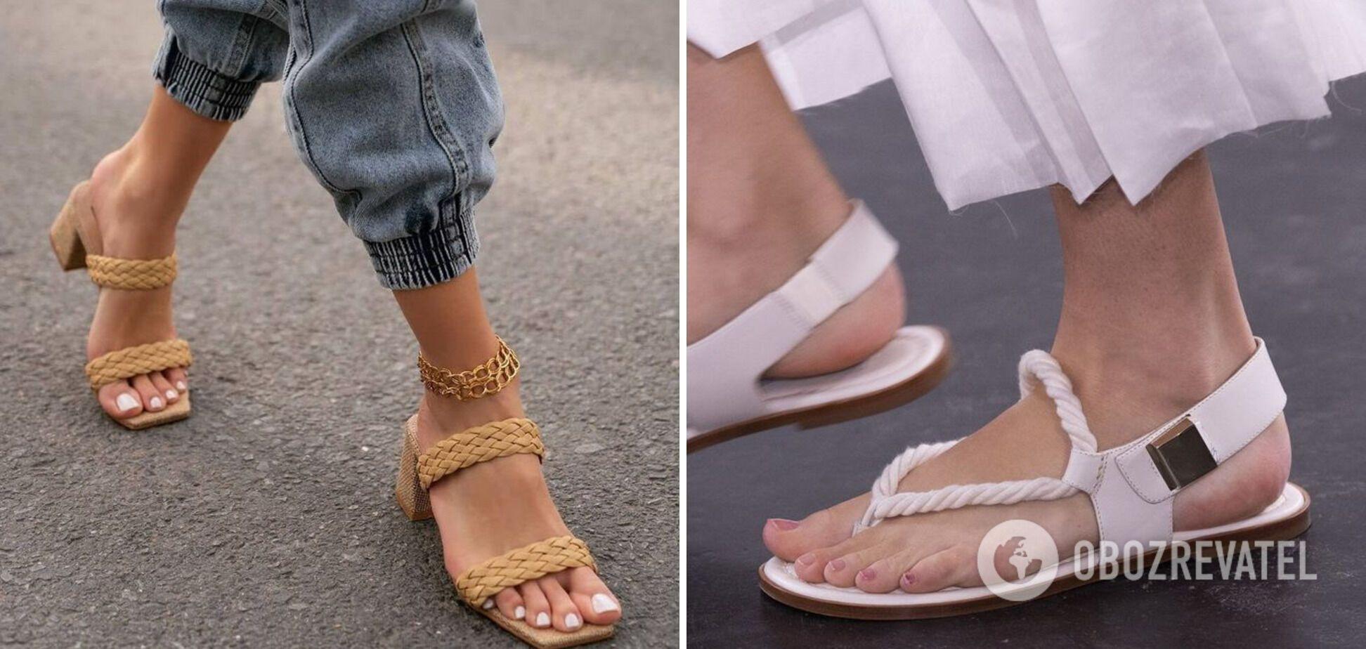 Трендовая летняя обувь 2021 – босоножки с широкими ремнями