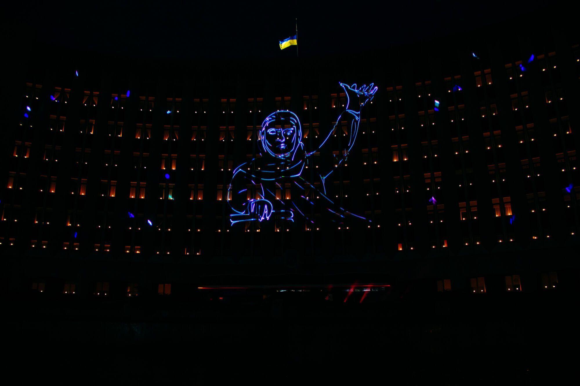Лазерное шоу на здании горсовета в Днепре