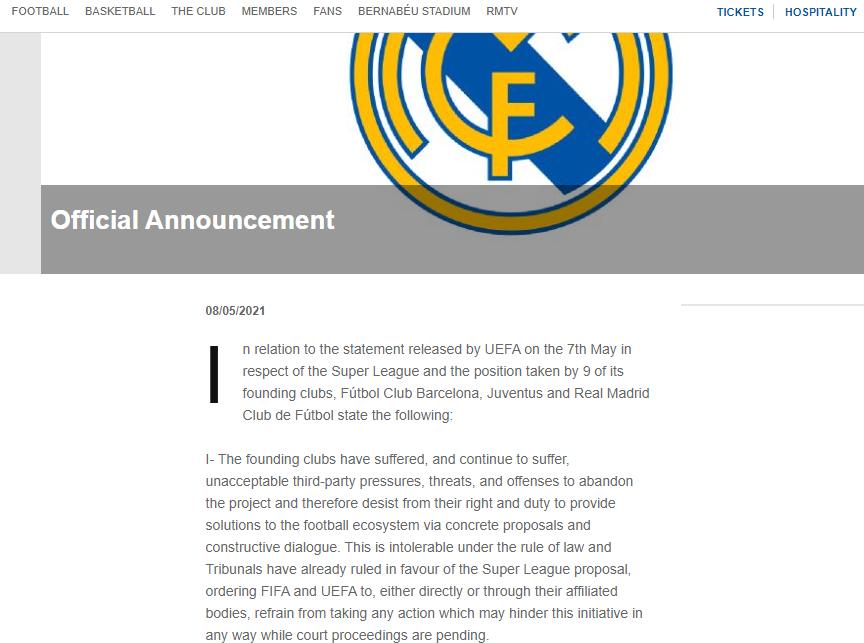 "Заявление на сайте ""Реала"""