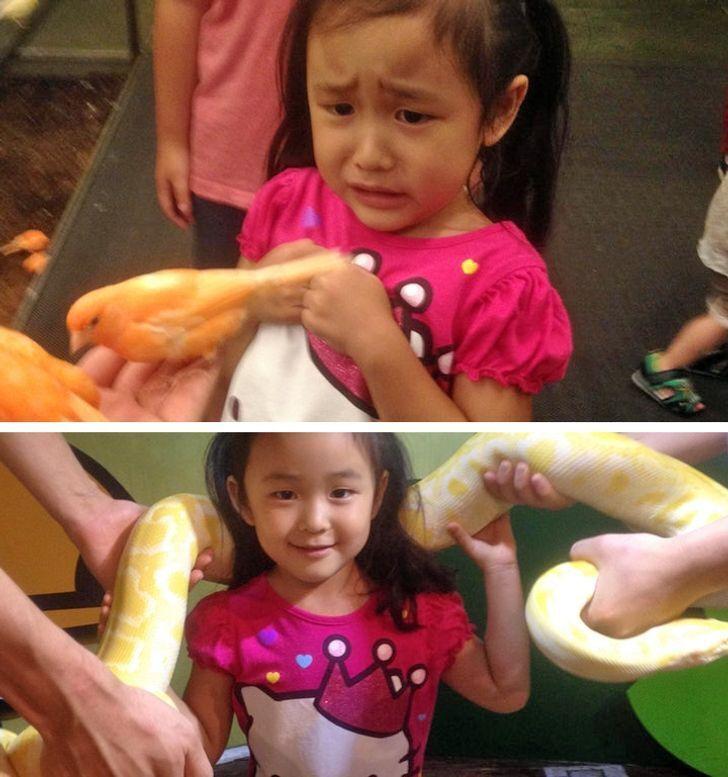 Дівчинка взяла на руки величезного змія