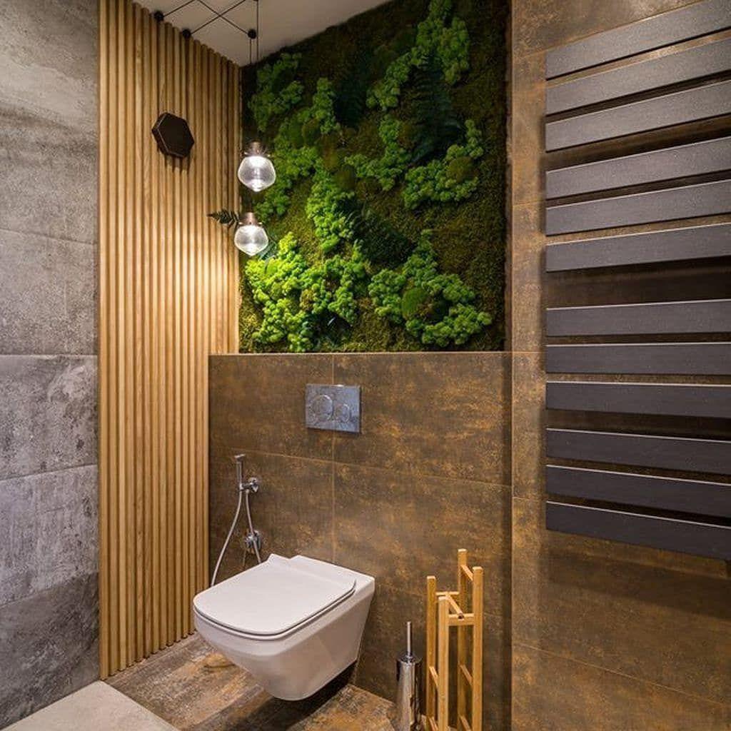 Часто ванную комнату украшают искусственной зеленью либо стабилизированным мхом