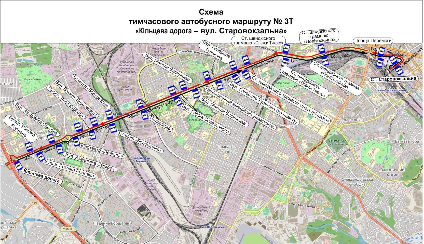 тимчасовий автобусний маршрут № 3-Т