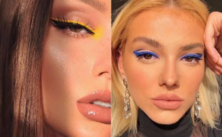 Тренд в макияже на лето 2021 – цветные стрелки