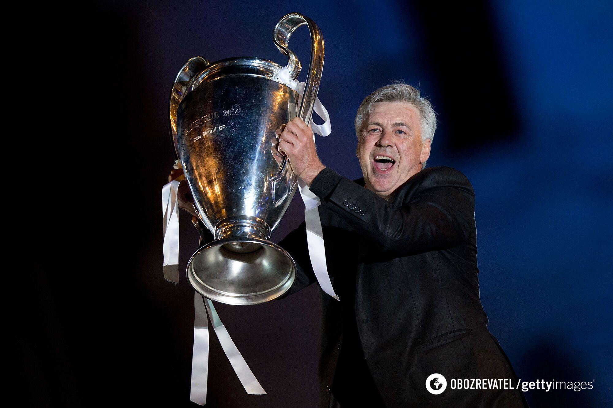 Карло Анчелотті з трофеєм Ліги чемпіонів