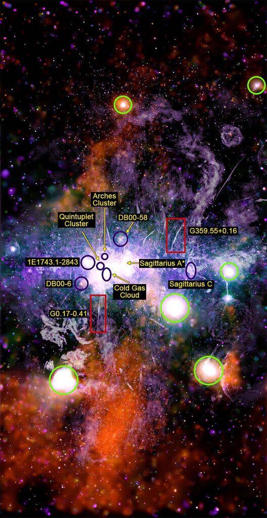 Складене зображення, на якому показаний центр галактики