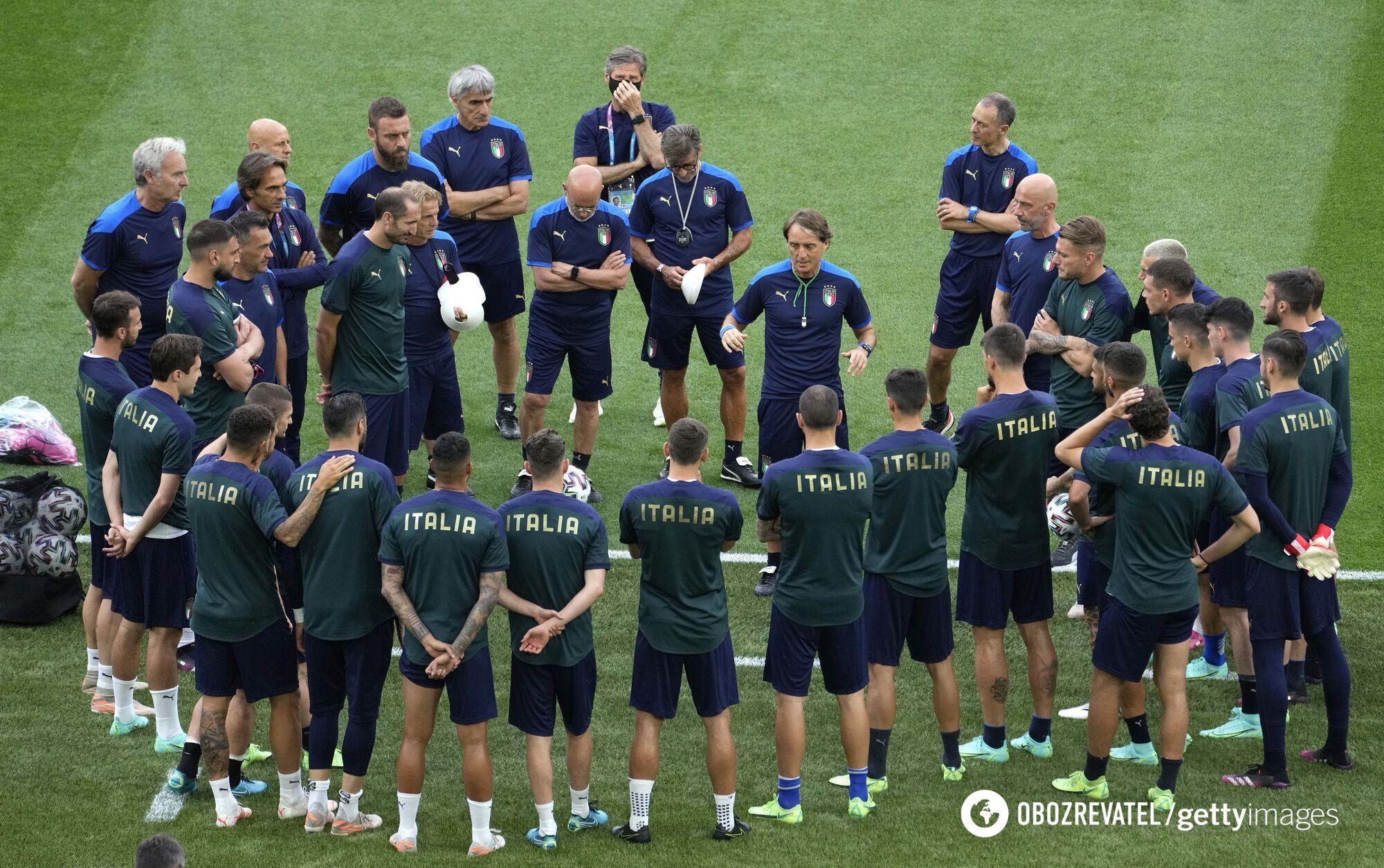 Тренировка сборной Италии.