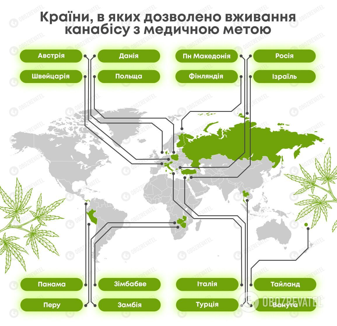 Страны, в которых легализован медицинский каннабис.