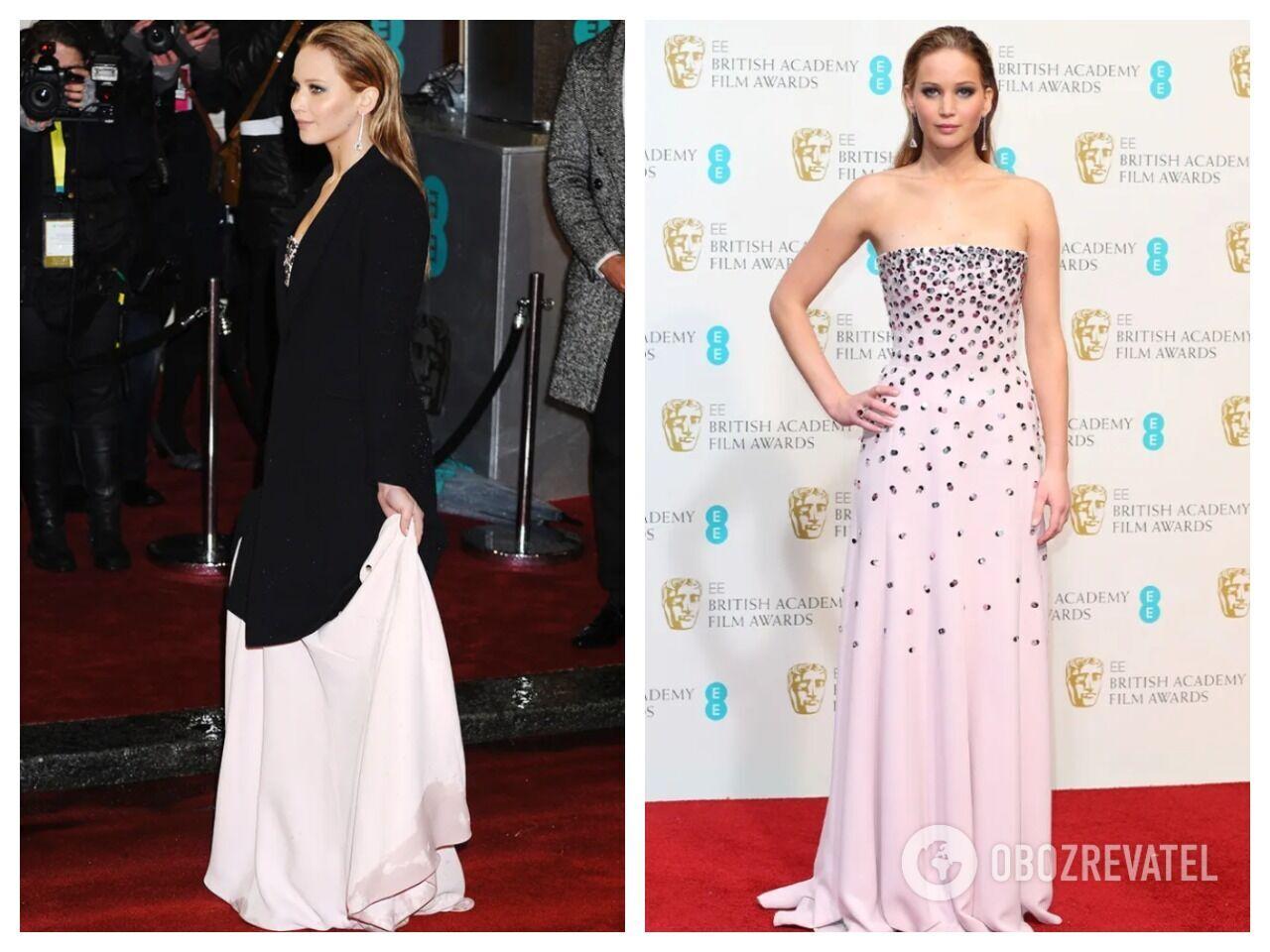 Дженнифер Лоуренс засветилась в длинном платье от Dior, подол которого пропитался грязной водой