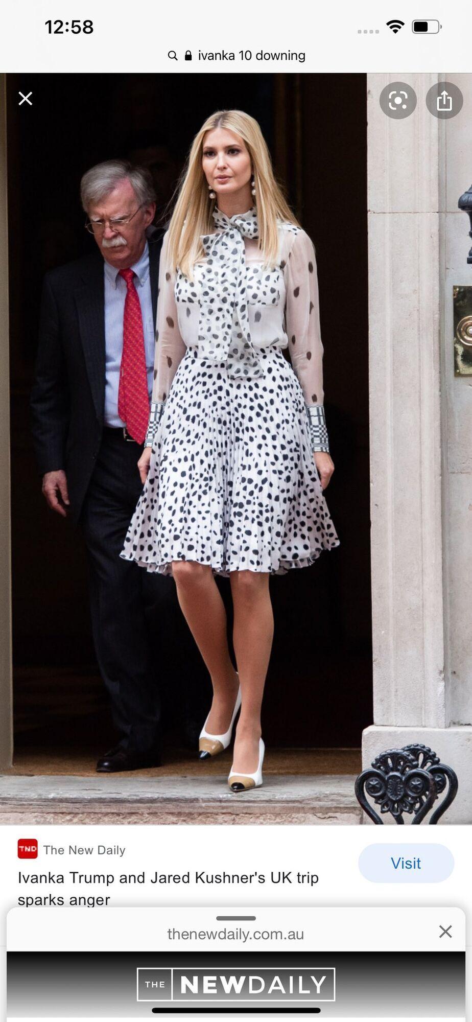 Іванка Трамп у білій сукні в горох
