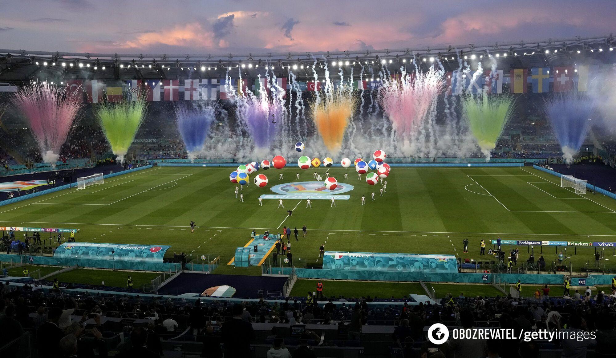 """""""Стадион Олимпико"""" во время открытия Евро-2020."""