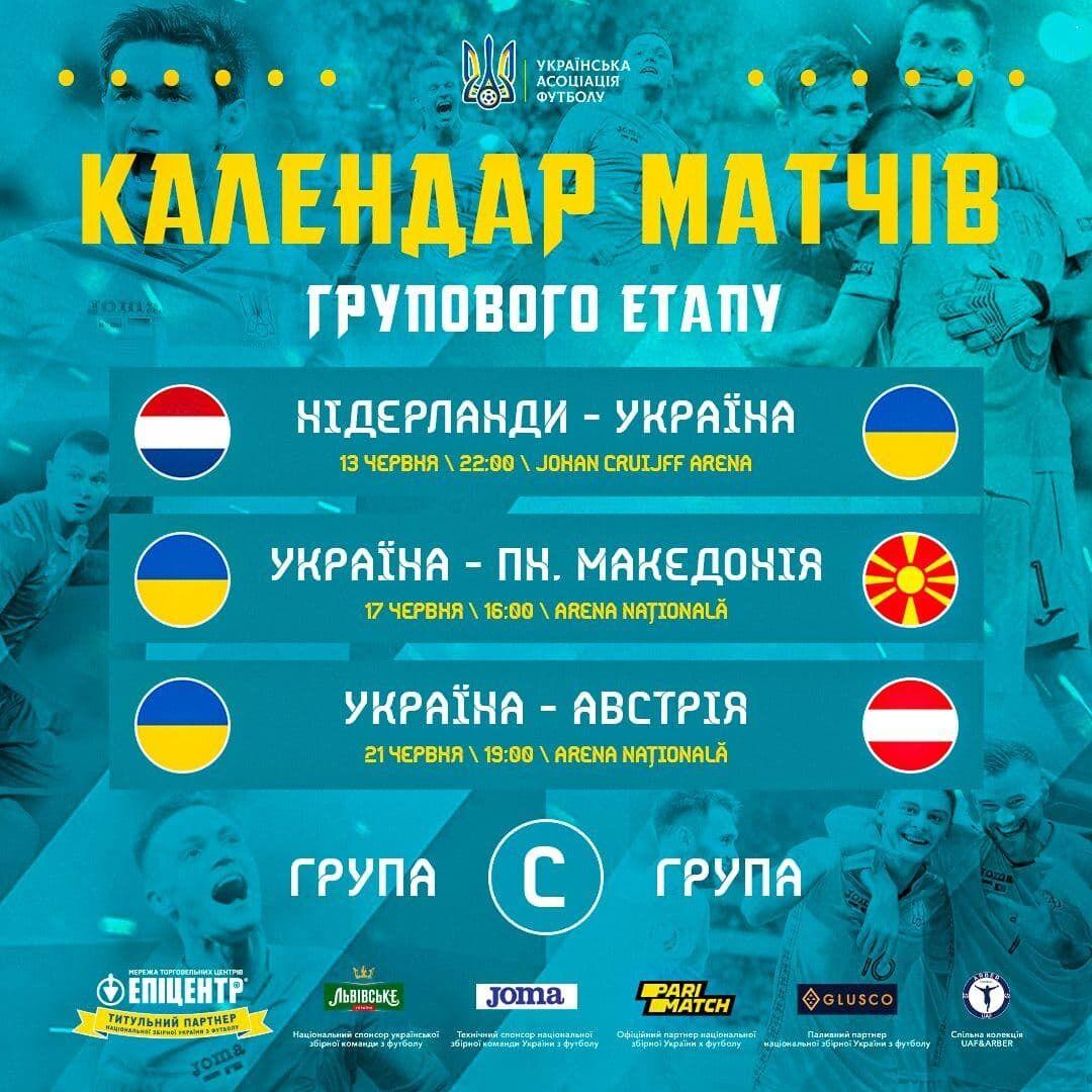 Розклад збірної України на груповому етапі Євро-2020.
