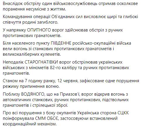 Доклад о событиях в зоне ООС на 12 июня.