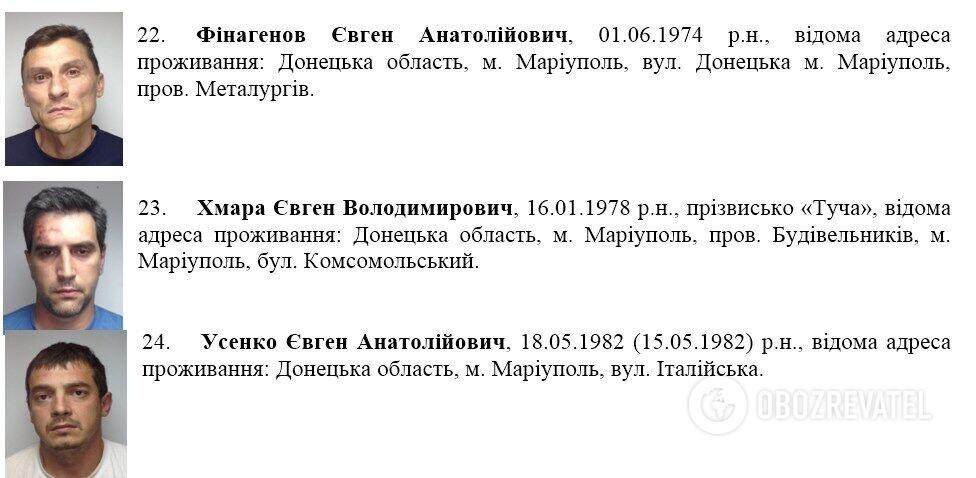 Список задержанных в Мариуполе 13 июня 2014 года на ул. Греческая
