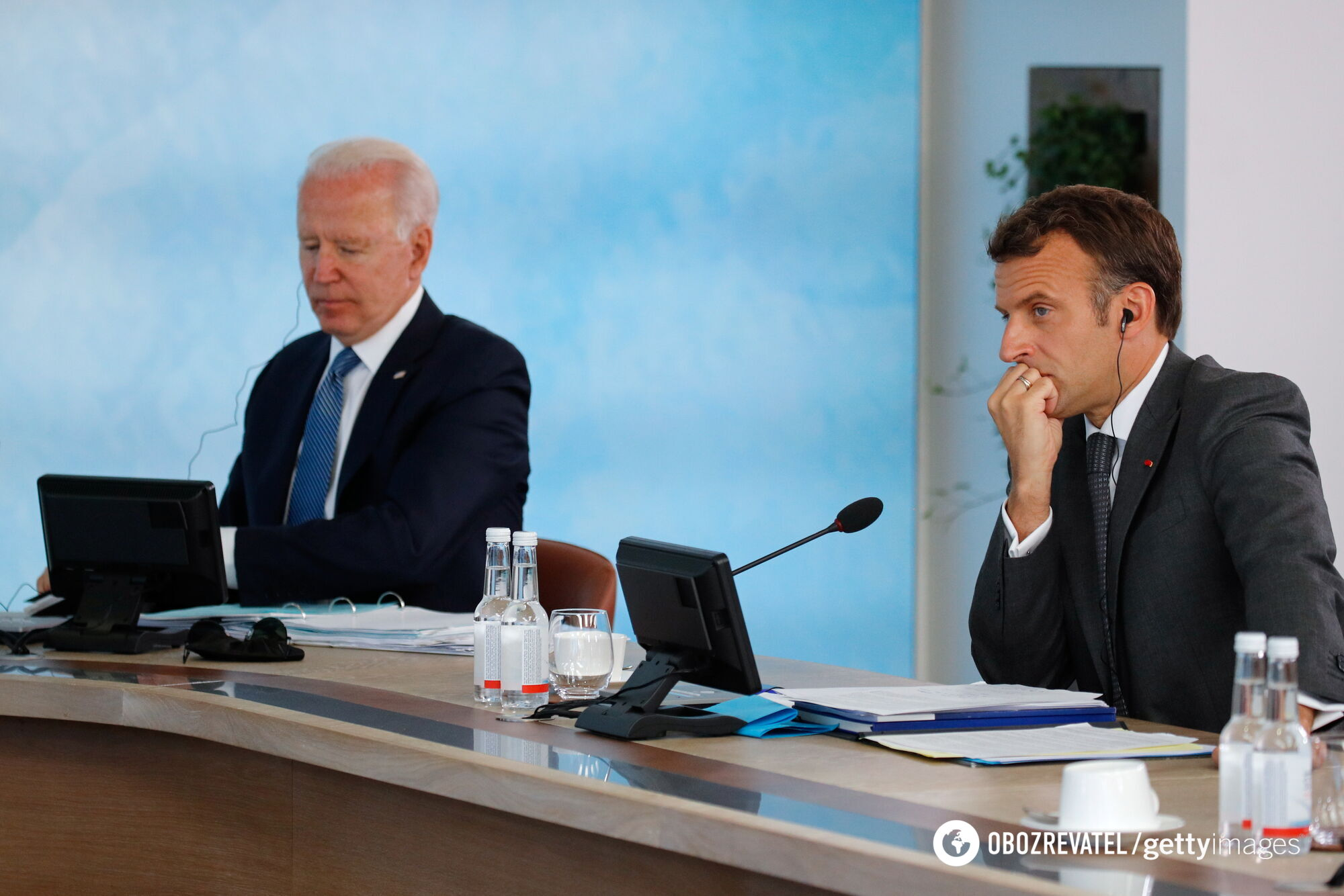 Президенты США и Франции Джо Байден и Эммануэль Макрон