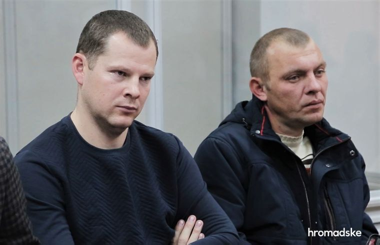 Виктор Эйсмонт и Владимир Мохонь в Шевченковском суде Киева, ноябрь 2018 года