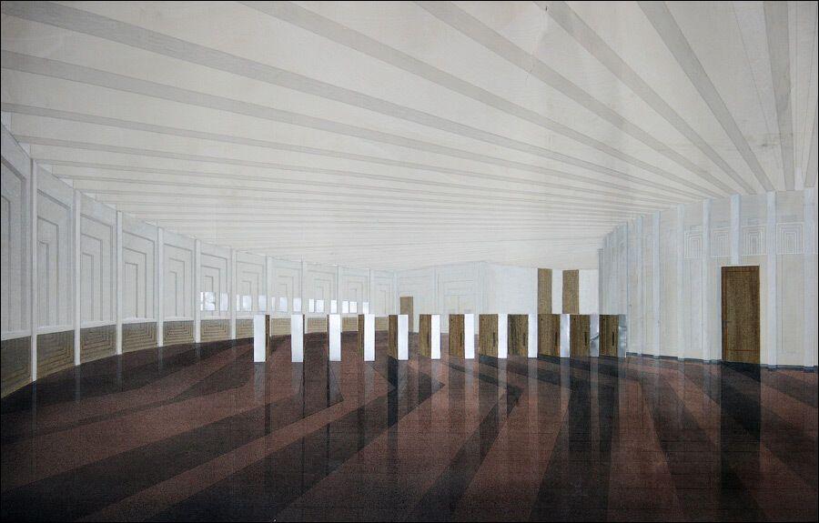 Проект вестибюля, выполненный по круговой схеме.