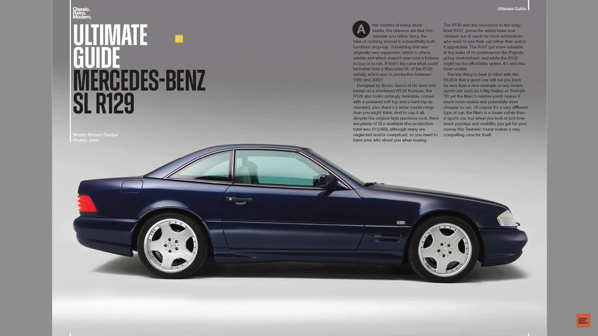 Одна з головних статей першого номера Classic.Retro.Modern присвячена Mercedes-Benz SL (R129)