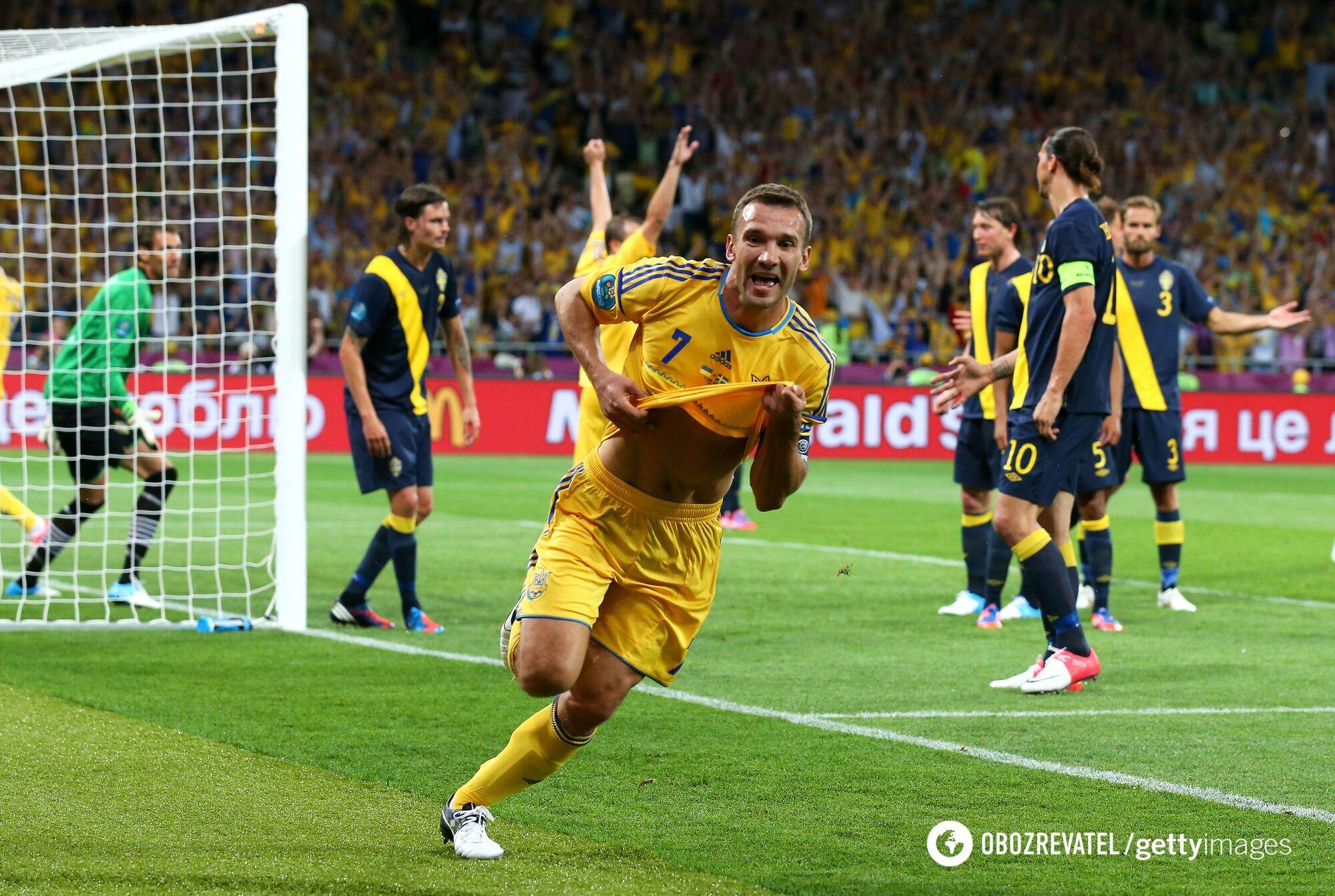 Андрей Шевченко в матче со Швецией (2012 год)