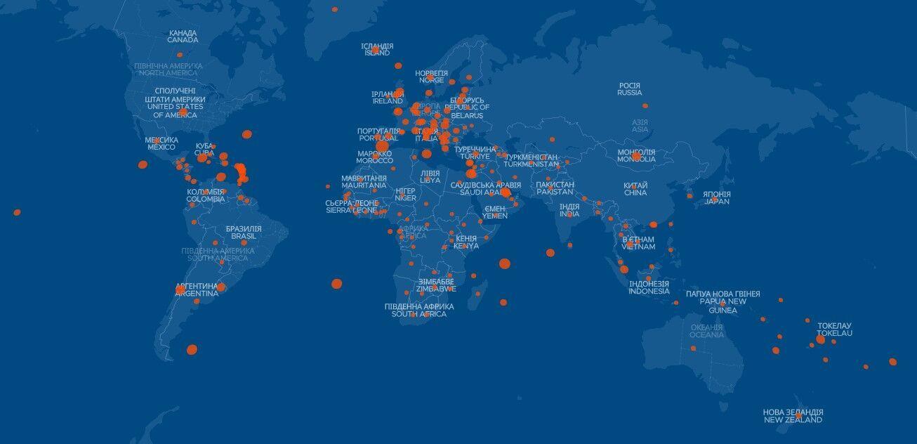 Карта с данными вакцинации против коронавируса в мире
