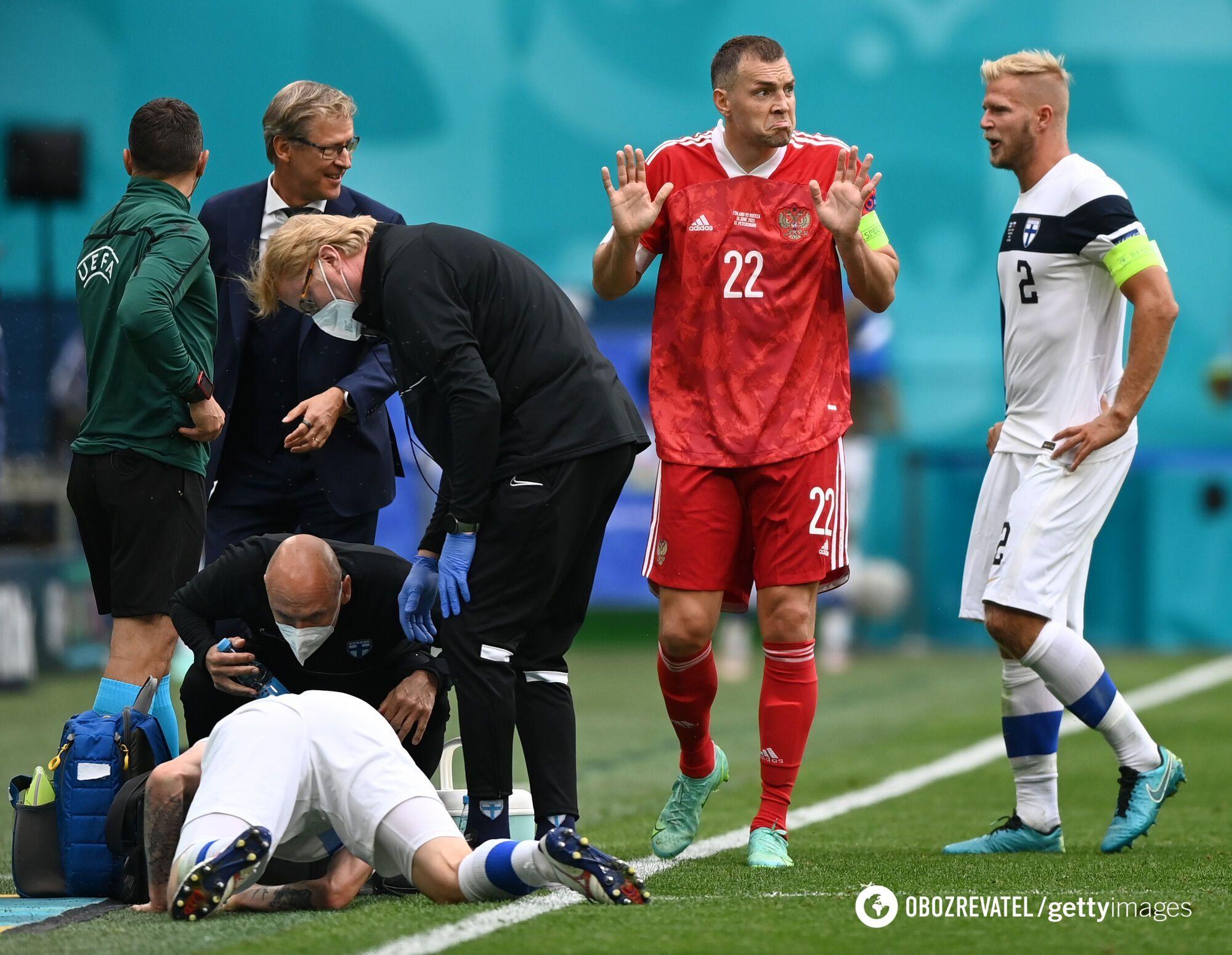Артем Дзюба в матче с Финляндией